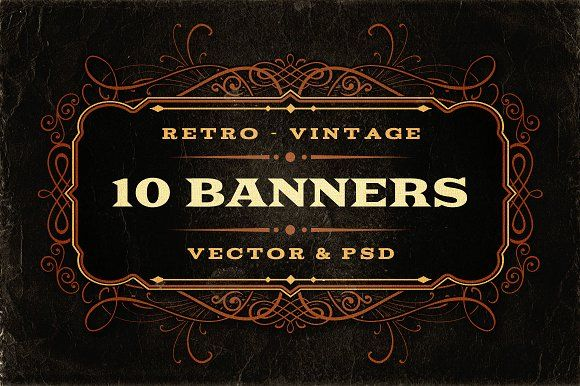10 Retro/Vintage Banners by Cruzine on @creativemarket
