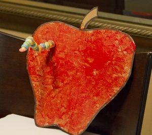 "Apple craft. Uses red paint, cardboard, one real apple, a chenille stem and fruit loops. Cute! Emma would love ""painting"" the apple with the real apple stamp!"