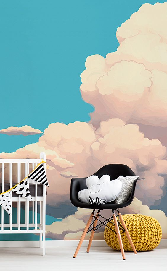 Dream on with this beautiful cloud wallpaper. Big, fluffy and fairy-tale like clouds float by to give your home a dream-like feel. It's perfect for gender neutral nurseries looking for some serious style and individuality!