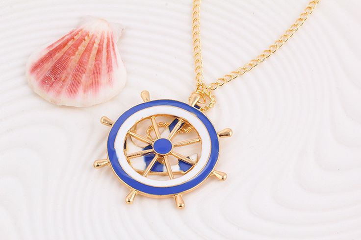 New Fashion Beautiful Navy Wind Anchor Blue and White Long Necklace Sweater Chain High Quality