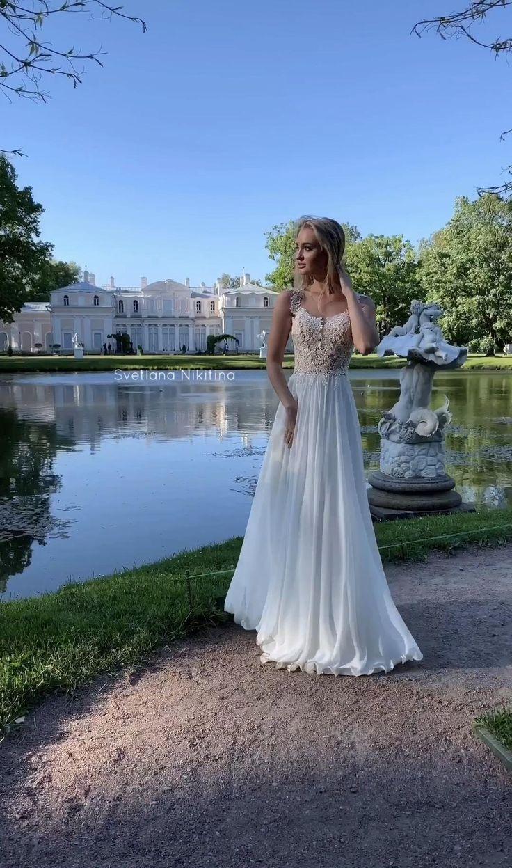 Shiffon Wedding Dress By Svetlana Nikitina Summer Wedding Dress Beach Wedding Dress Simple Lace Wedding Dress [ 1247 x 736 Pixel ]