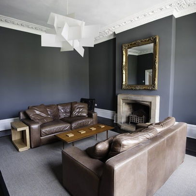 grey walls with brown furniture. brown leather sofa w grey walls and gold accents with furniture