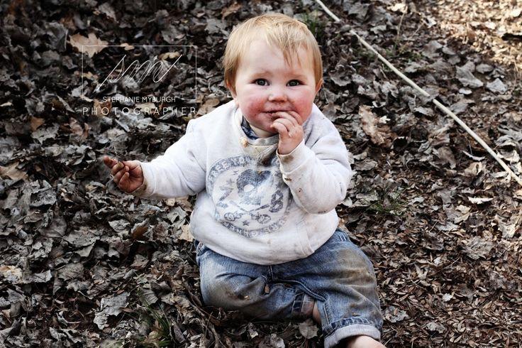Baby eating leaves