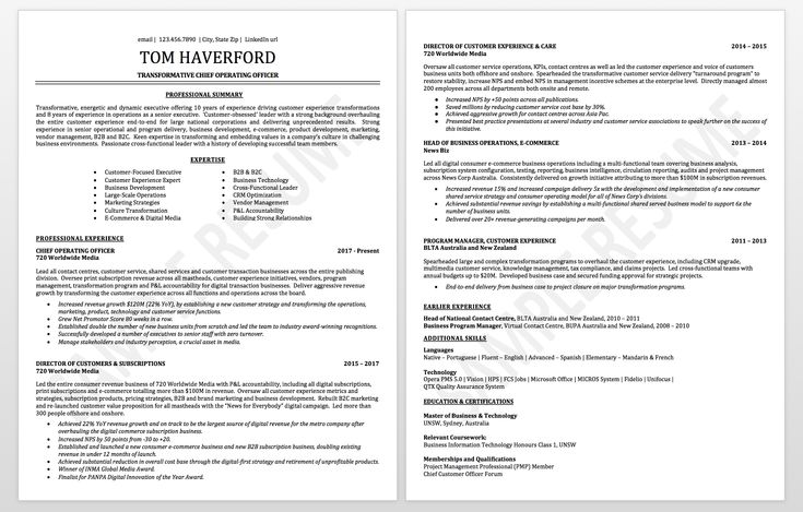 Executive resume sample chief operating officer resume
