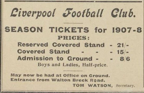 Liverpool FC - Season Tickets for 1907-08