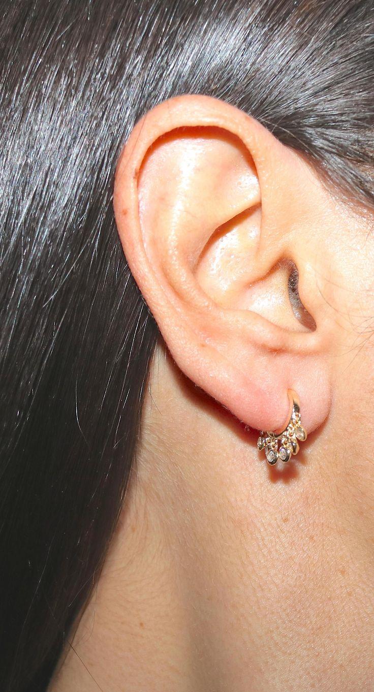 Huggie Earrings Sterling Silver Dangle Hoop Huggie Earrings at Liliana Skye MINI jewelry, earrings, gold jewellery, yellow earrings, hoop earrings, dainty earrings and shaker earrings