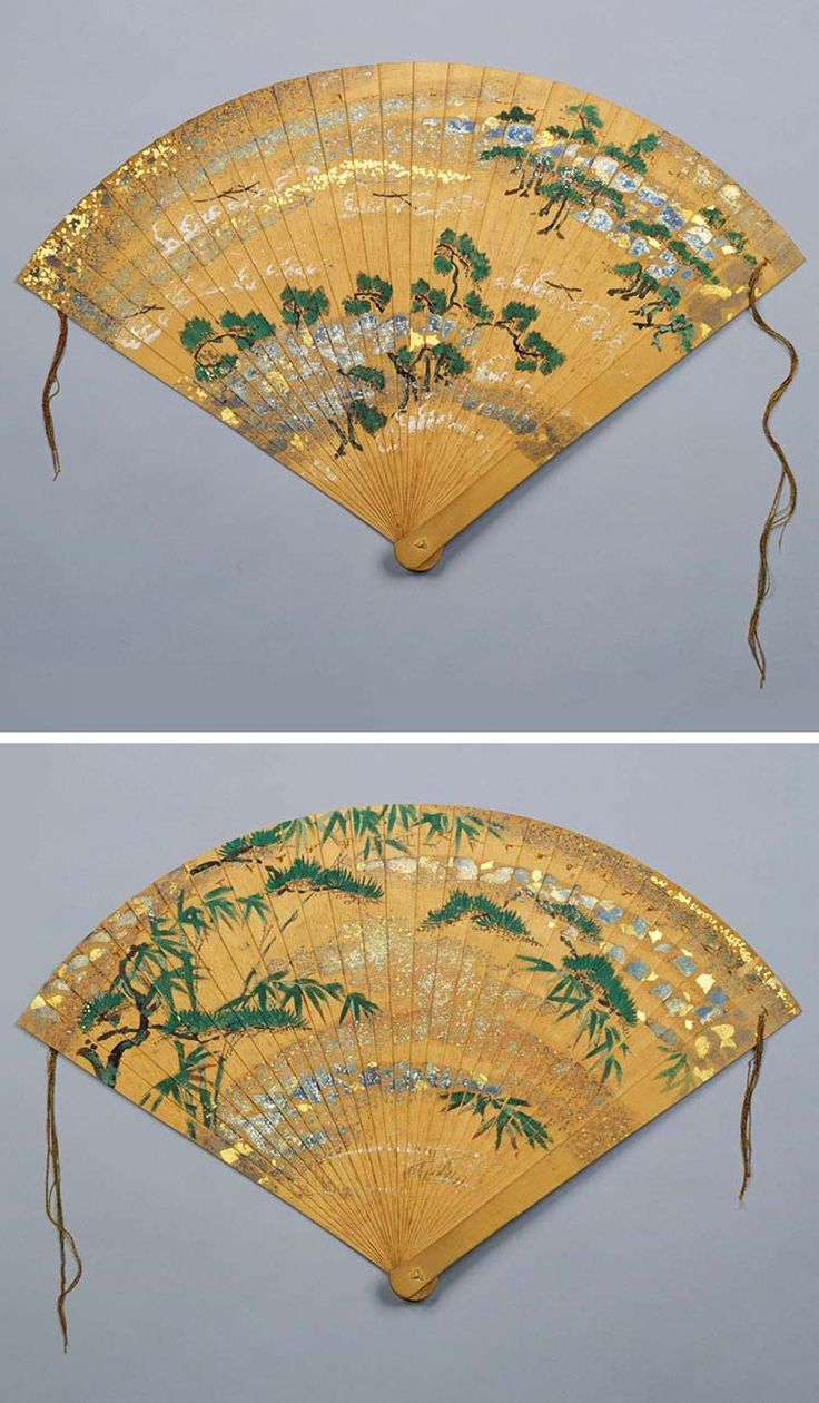 Painted Cypress Fan, 1338-1573, This type of fan, called hiôgi in Japanese, is made of thin slats of cypress wood. Given that court ladies used this type of fan when wearing formal clothes, it is likely that it was commissioned for a female deity. The painting is executed in delicate brushstrokes on a ground lavishly decorated with gold and silver powder, hair-thin strips of silver foil, and granules of gold and silver.