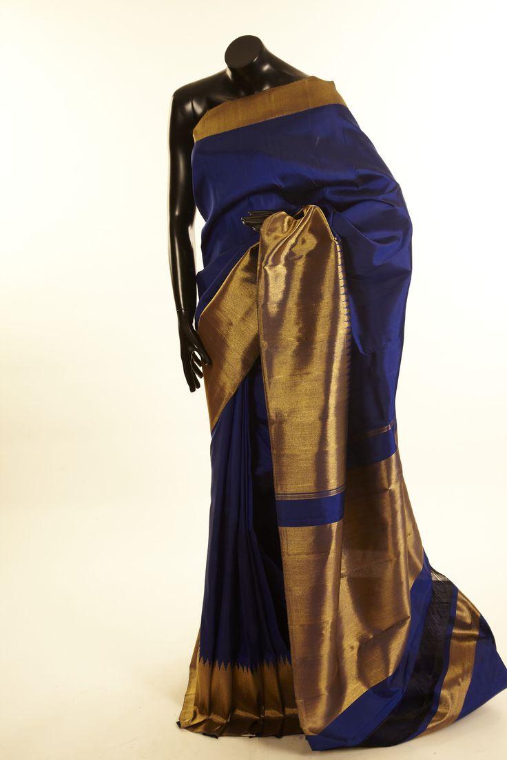 Kancheepuram, Kanjipuram- silk royal blue saree with blouse