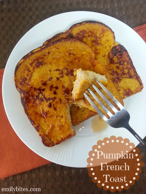 Pumpkin French Toast-Tastes like pumpkin pie! Instead of pumpkin pie spice, I used about 3/4 teaspoons cinnamon and heaping 1/8 teaspoons of nutmeg, cloves and ginger.