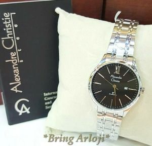 Jam Tangan Alexandre Christie Wanita AC 8504 Silver Black Original