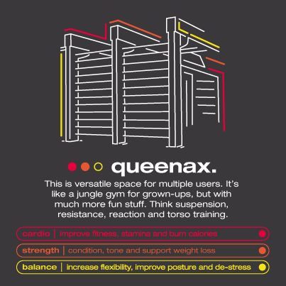 Queenax: A versatile space for multiple users. It's like a jungle gym for grown-ups, but with much more fun stuff. Think suspension, resistance, reaction and torso training