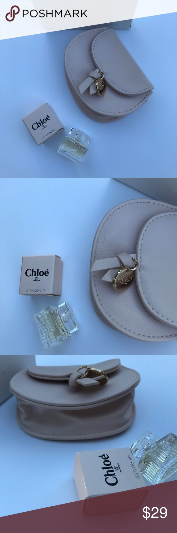 chloe pouch chloe parfum mini , chloe parfum coin new - never used || light baby pink chloe parfums pouch coin purse can fit keys cc cards and lipstick with brand new mini chloe parfum - a petite little glass bottle 🍸🏷authentic , 5 x 5 inches Chloe Makeup