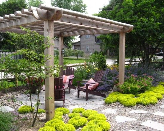 Pergola with pea gravel