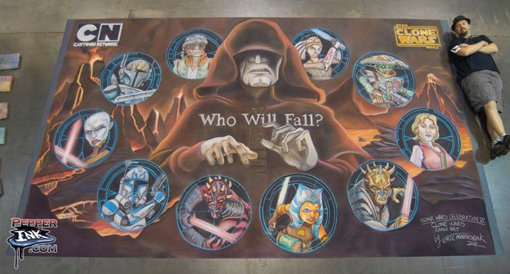 http://www.pepperink.com - Chalk art for Season 5 of the Clone Wars animated series. The time lapse video of this artwork was a bonus feature on the season 5 BlueRay/DVD release in October 2013.