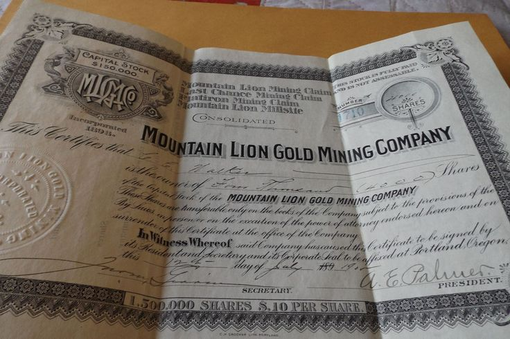 Business Gold Mine Certificates American Canada Investor Shares Rare Collection
