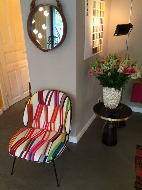 Gubi beetle chair  fabric made by La Maison Pierre Frey Gubi Adnet mirror Bocci lighting  Classicon sidetable