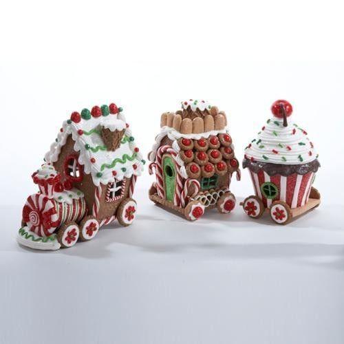 "New Kurt Adler 3 Piece Gingerbread House Train Set 4.5"" With LED Light"