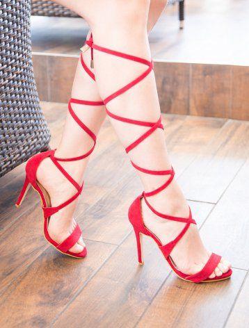 King Kırmızı Süet Sarmal Bağlı Topuklu Sandalet