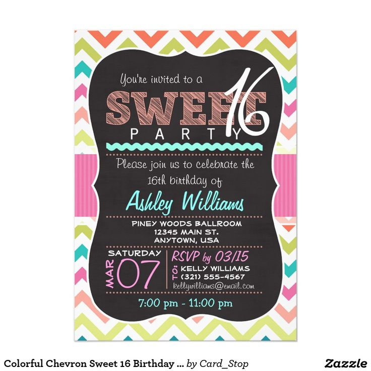267 best chevron sweet sixteen invitations images on pinterest colorful chevron sweet 16 birthday girl invitation stopboris Images