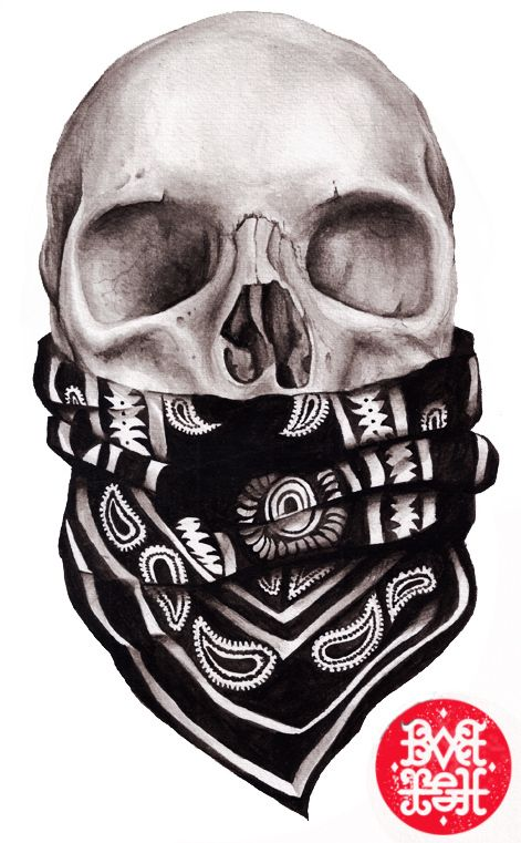 This is a picture of a skull with a bandana around its mouth. I chose this picture because even though it doesn't have a color on the bandana referencing what gang it is from, it shows that gang members literally die a gangster. They do not turn their backs against their crew.