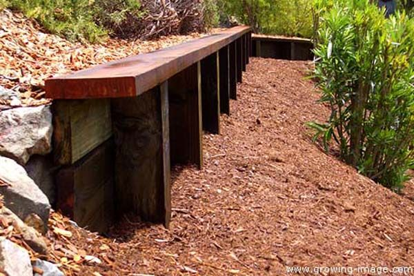 Wood Retaining Wall With Step Bench Using 2x6 Lumber