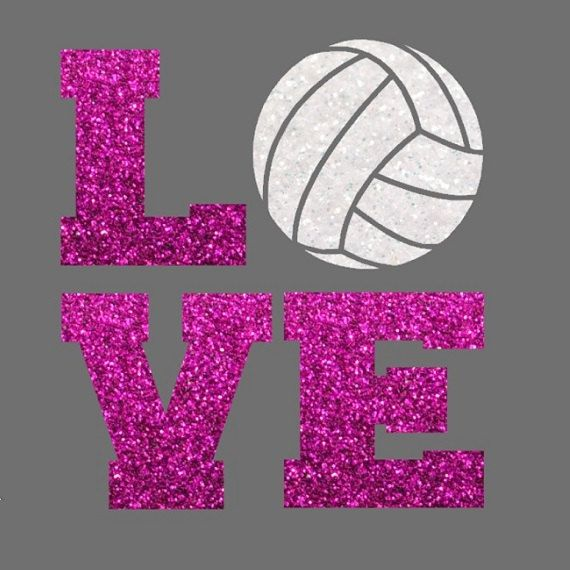 Glitter Volleyball LOVE Iron On Volleyball by IHeartHoundstooth
