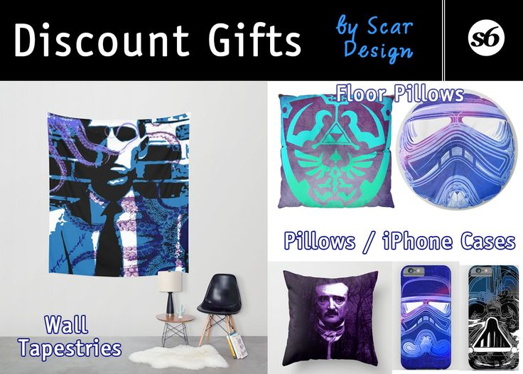 Discount Gifts by Scar Design #discount #gifts #sales #save #salesgifts #discountgifts #walltapestry #pillows  #floorpillows #iPhonecases #giftsforhim #giftsforher #lovecraft #poe #zelda #stormtrooper #darthvaderiphonecase #geek #nerd #geekgifts #homedecor #homegifts #society6