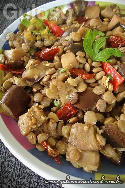 Salada de Lentilha com Berinjela » Receitas Saudáveis, Saladas » Guloso e Saudável
