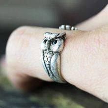 Coruja sorte Anel mulheres Anel Animal Retro Vintage envoltório tamanho ajustável anéis de cristal preto(China (Mainland))