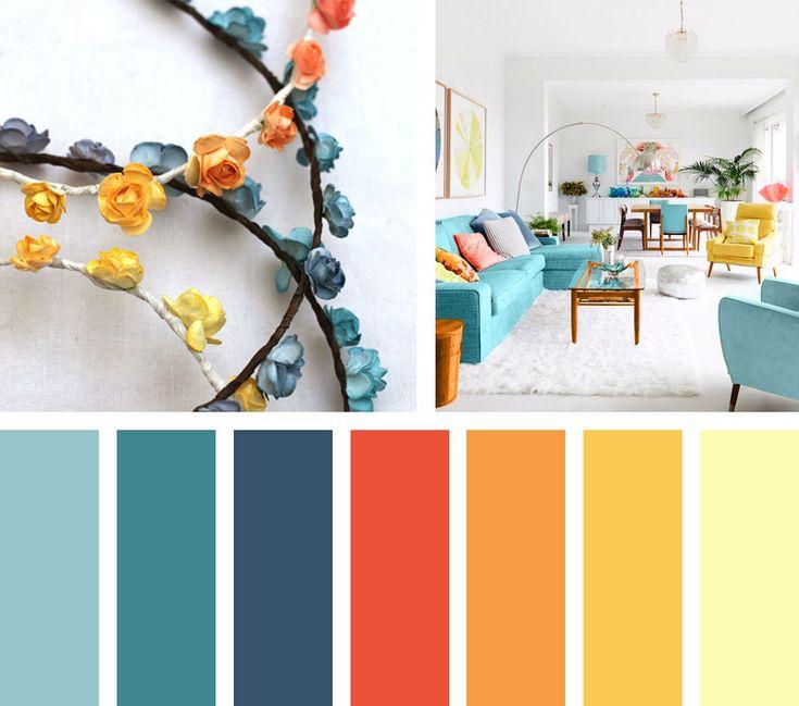 Una paleta de color dulce y aromática, que a través de tonalidades naranjas y amarillas componen este espacio contrastando un sabor suave y agradable con colores azules aqua.  Espacio Vía: culturacolectiva.com