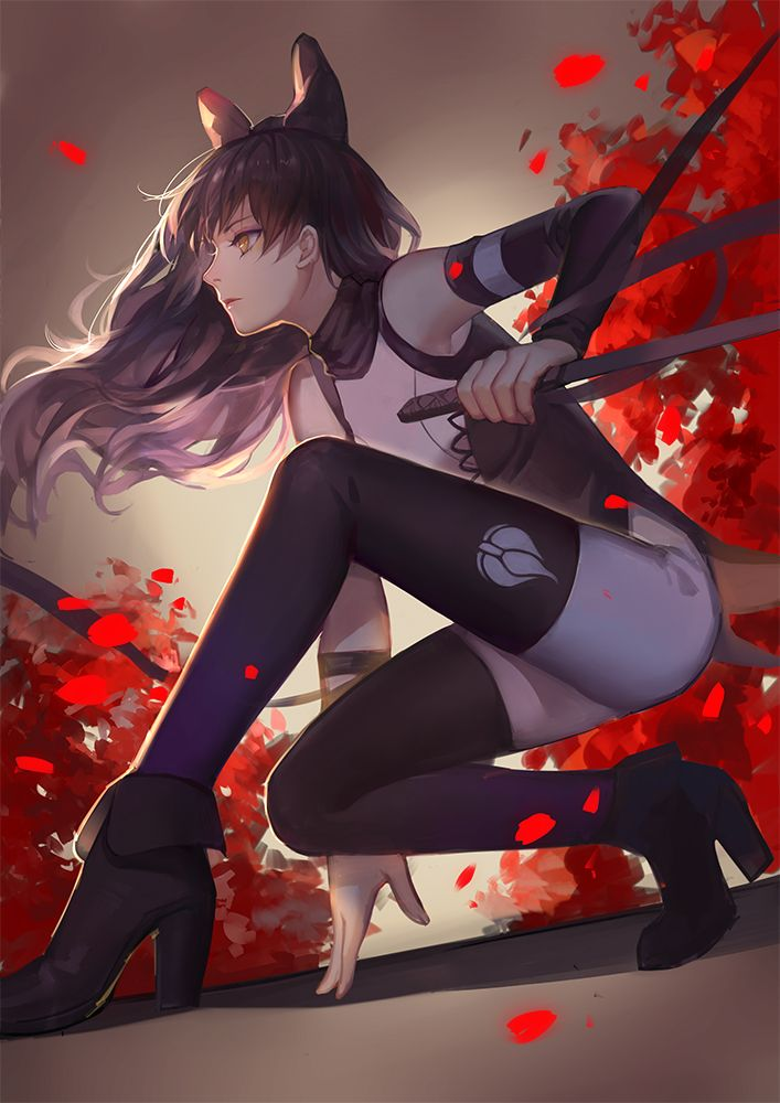 rwby blake belladonna asukaziye black hair bow long hair thighhighs weapon yellow eyes | Sankaku Channel