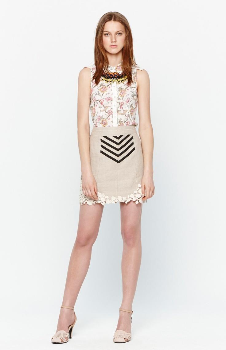 Falda de lino caqui - U chica | Adolfo Domínguez Shop online