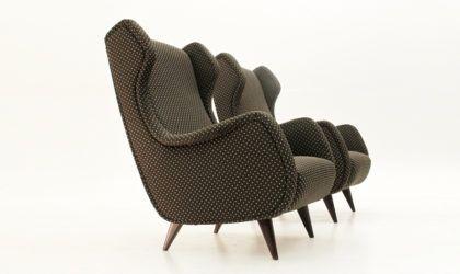 Coppia di poltrone in tessuto nero, 60s italian armchairs, Marco Zanuso, Gio Ponti, design, mid century