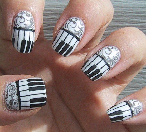 Fancy - Fantastic Nails Art / Frippery Digits: Piano keys and Filigree