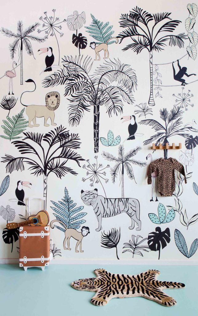 Jungle Dieren Behang Kinderkamer.Claas Fotobehang Jungle Beige Babykamer Jongens Behang En