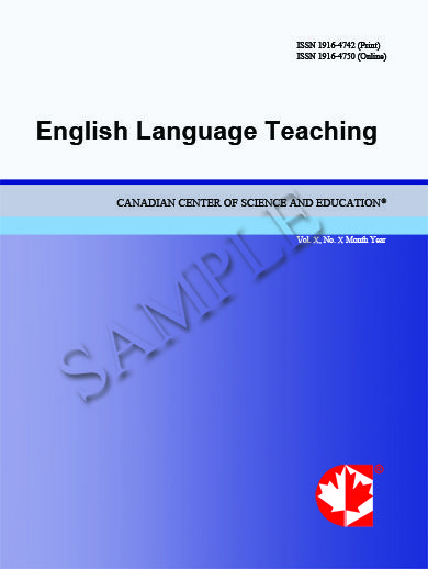English Language Teaching (ELT) is a double-blind peer-reviewed international journal dedicated to promoting scholarly exchange among teachers and researchers in the field of English Language Teaching. The journal is published monthly by the Canadian Center of Science and Education. The scope of ELT includes the following fields: theory and practice in English language teaching and learning, teaching English as a second or foreign language, English language teachers' training and education.