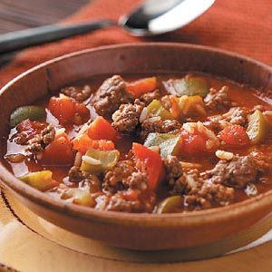 Stuffed Pepper Soup Recipe from Taste of Home -- shared by Krista Muddiman of Meadville, Pennsylvania