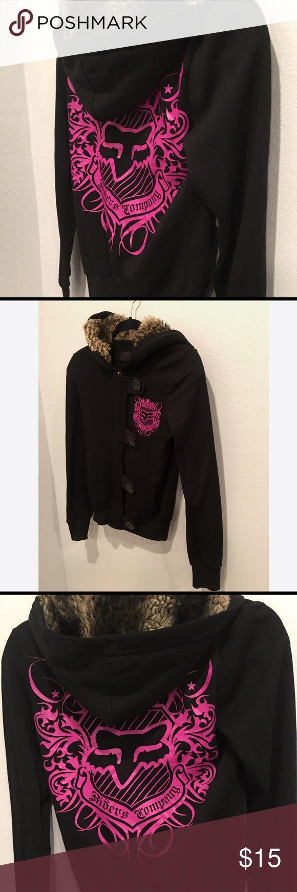 Fox racing faux fur hoodie women's XS Black with pink fox logo and faux fur trimmed hood Fox Jackets & Coats