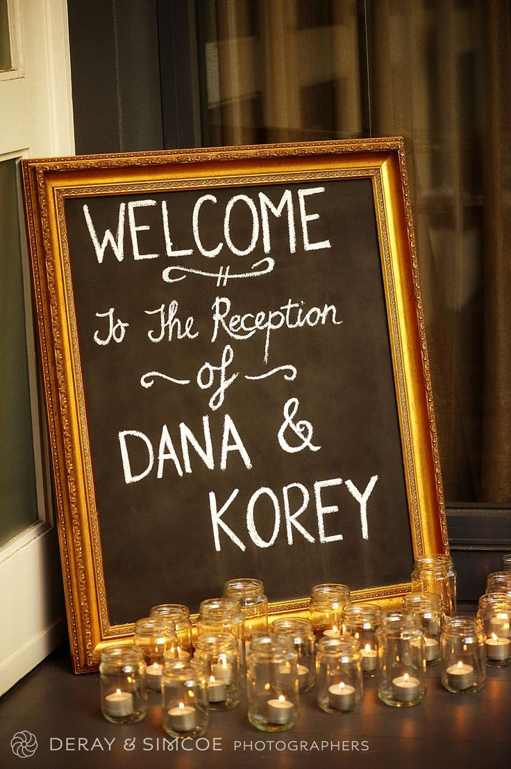 DIY wedding reception framed chalkboard 'Welcome' sign. Candles in jars for mood and ambiance