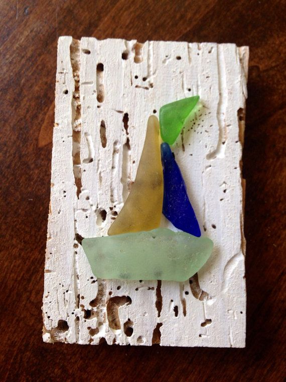 DIY Sea Glass Sail Boat- or Sea Glass Boat 4 by OceanTesoro on Etsy, $27.00