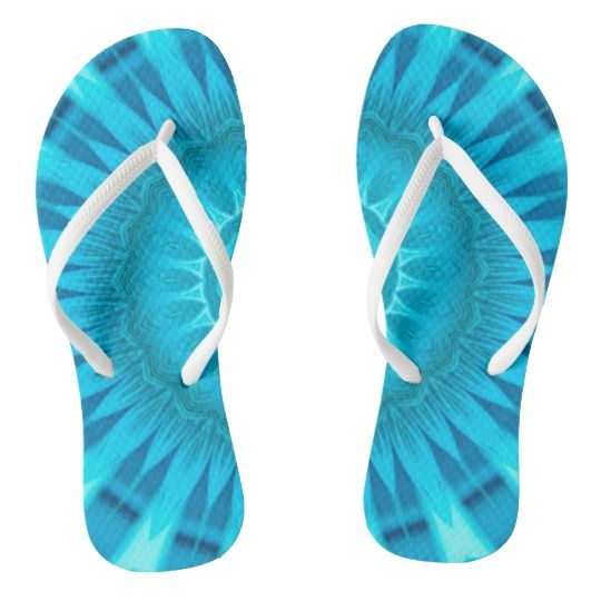 Turquoise Mandala Flip Flops by www.zazzle.com/htgraphicdesigner* #zazzle #gift #giftidea #flipflops #mandala #kaleidoscope #abstract #summer #blue #turquoise