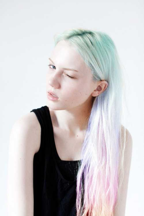 Pastel rainbow hair; it's a good thing i'm not a natural blond bc my hair color would be ridiculous and change ALL the time