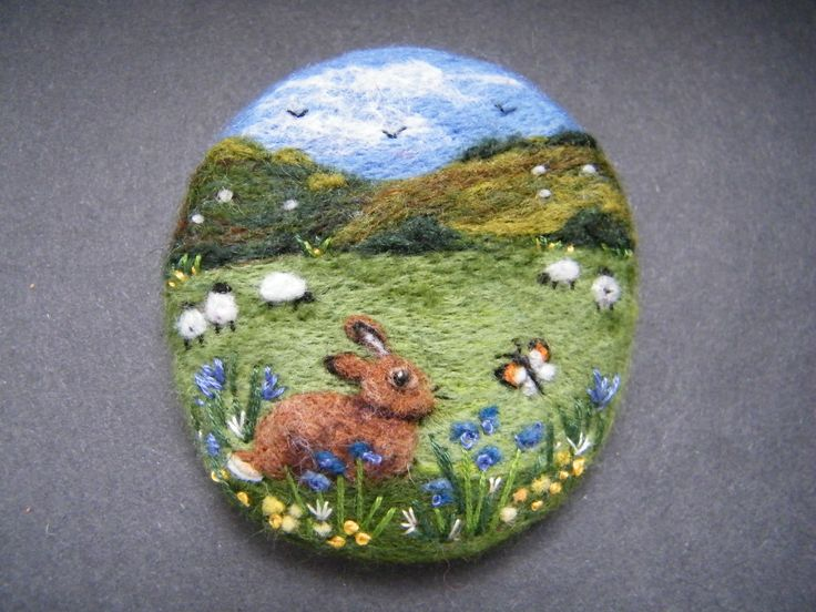 Handmade needle felted brooch 'The Bunny and the Butterfly' by Tracey Dunn | eBay