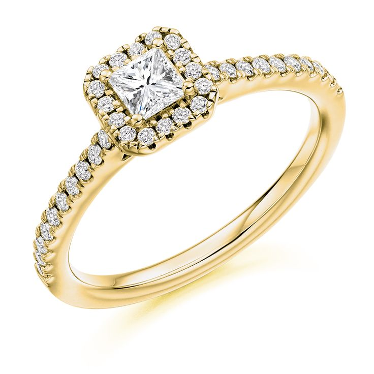 Halo Set 0.63ct Princess Cut Diamond Ring | Reppin & Jones Jewellers