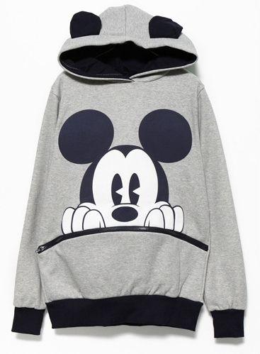 Sweatshirt mit Kapuze und Mickey-Druck, schwarz/grau 17.52