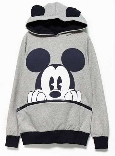 Sudadera con capucha Mickey manga larga-Gris y negro 13.79