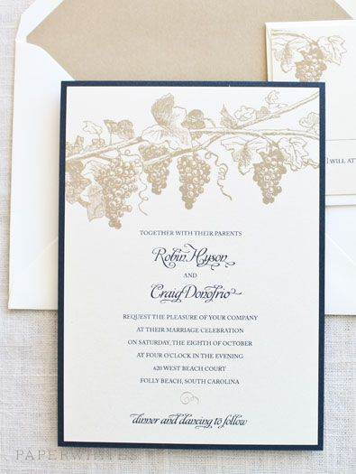 Our winery themed wedding invitation is a wonderful choice for a vineyard wedding. The invitation is adorned with grapevines across the top, the perfect invitation for wine lovers or an outdoor wedding @Weddings by