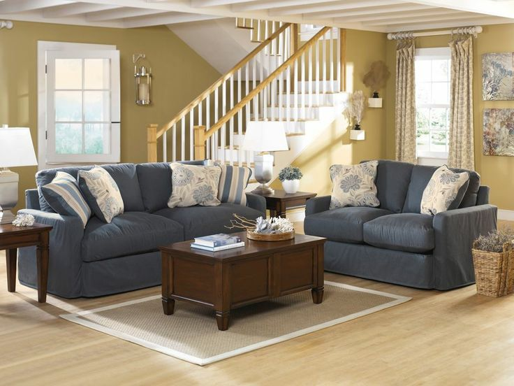 Ashley Addison Vintage Casual Cottage Slate Denim Blue Sofa Loveseat Chair Set Master Guest