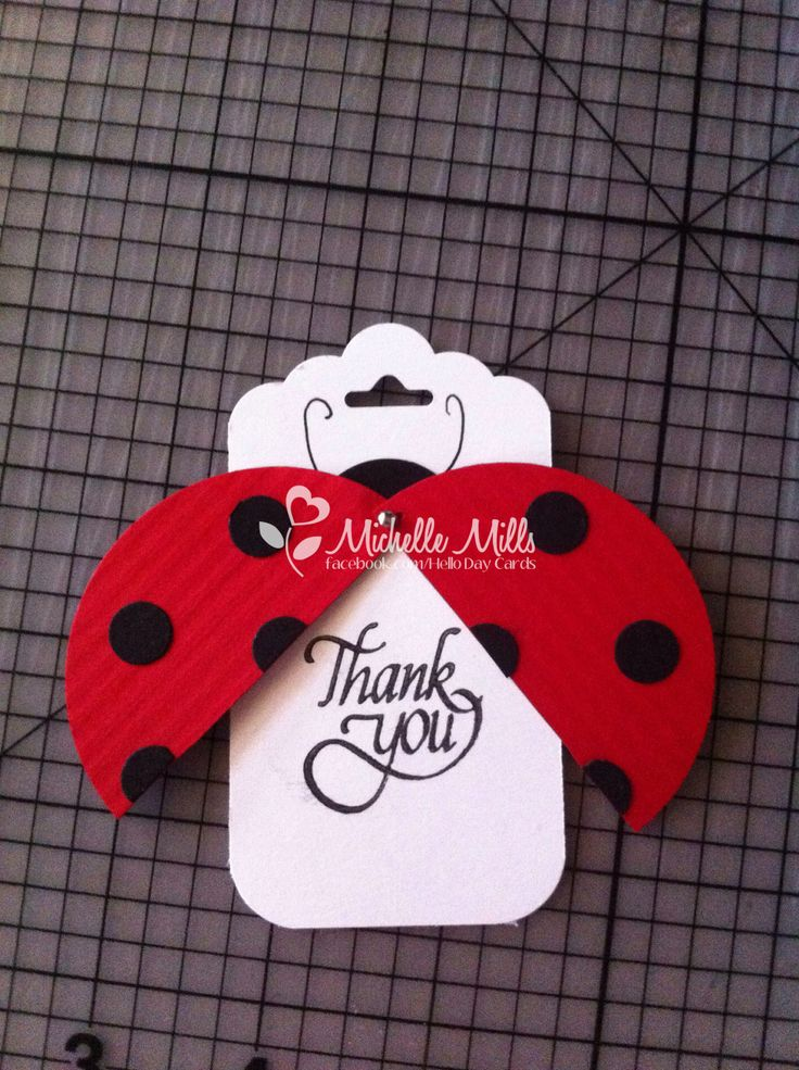 Stampin Up lady bug party favor thank you tags. Opens to reveal the thank you! :)