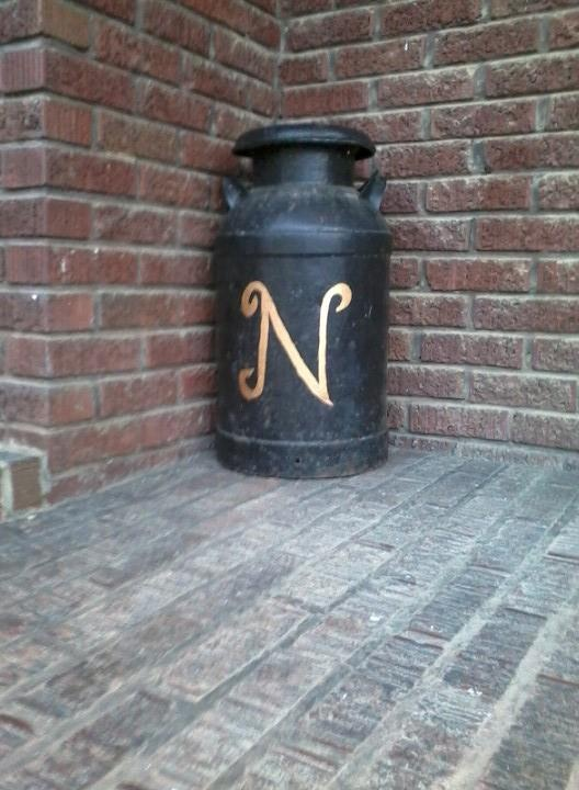 Place Your Initial On An Old Milk Can And Place On Your